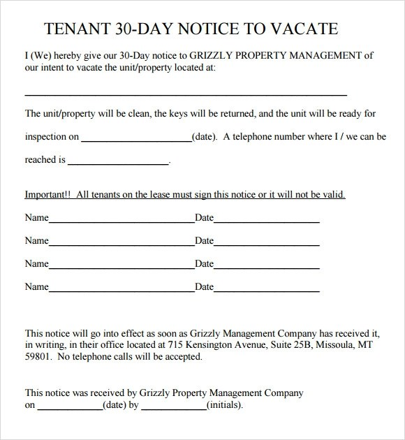 30 day eviction notice template - property notice letter