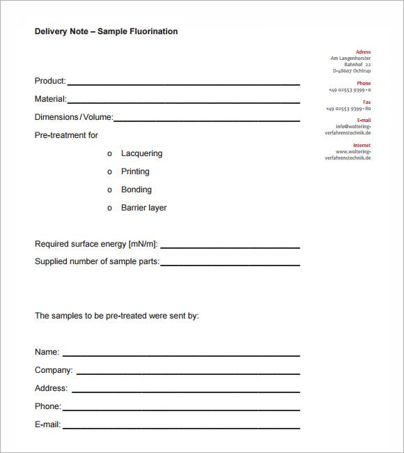 Pretty Sample Delivery Note Template Pictures \u003e\u003e Delivery Letter