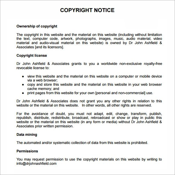 free-copyright-notice-templatejpg - copyright notice template