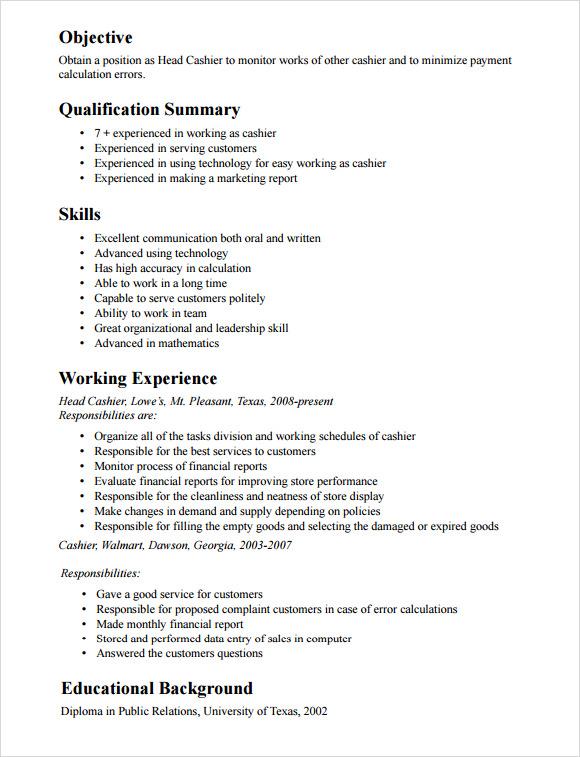 retail cashier resume sample radiovkm