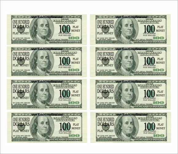 printable play money template - money template