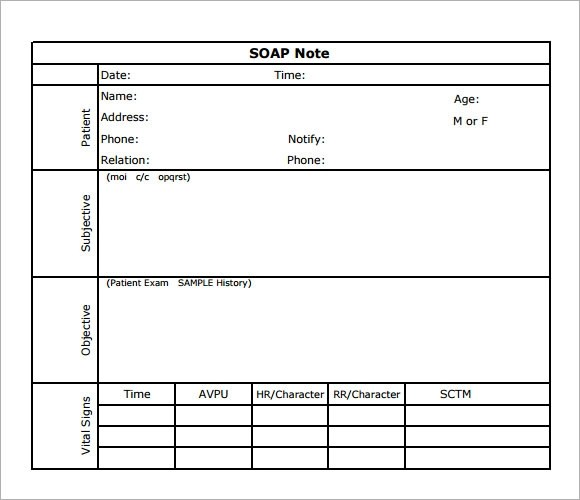 printable soap note templates - Notes Template Word