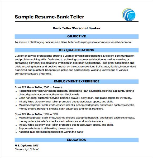 Sample bank teller resume objective - resume template for bank teller