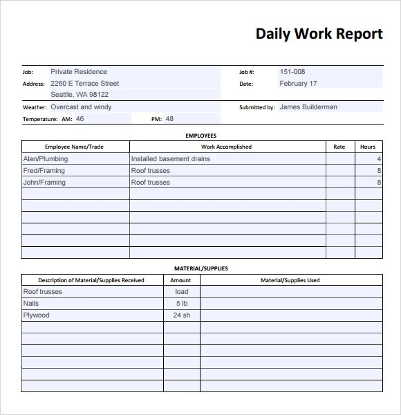 daily work report template - daily status report template