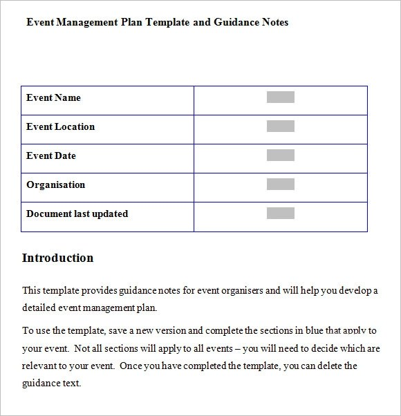 event management plan template - management plan template