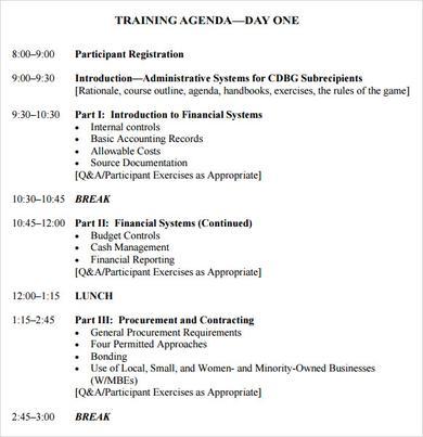 workshop agenda template samples