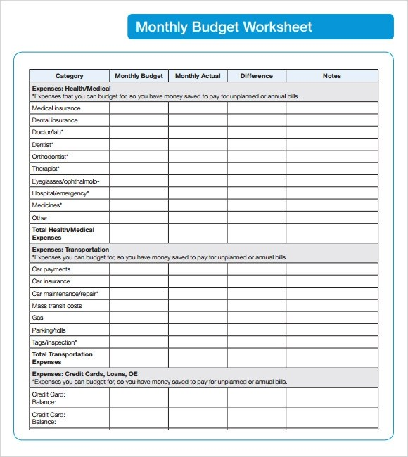monthly budget template - sample monthly budget template