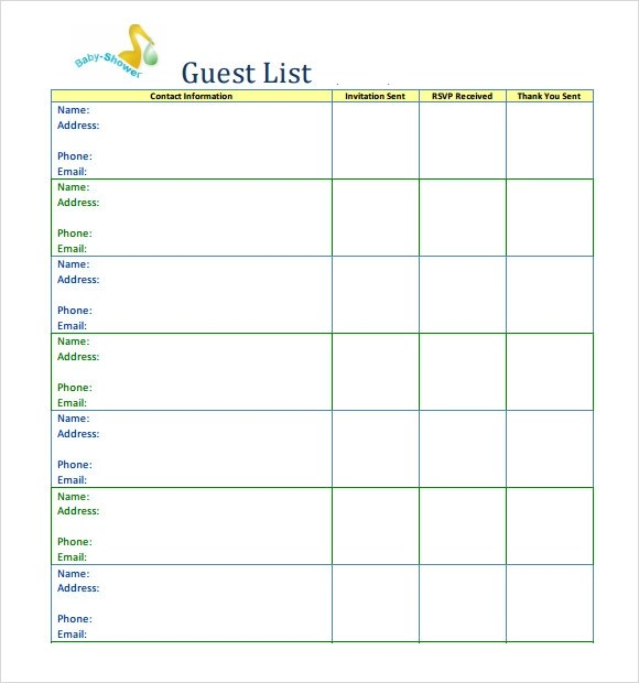 baby shower guest list template - free printable guest list