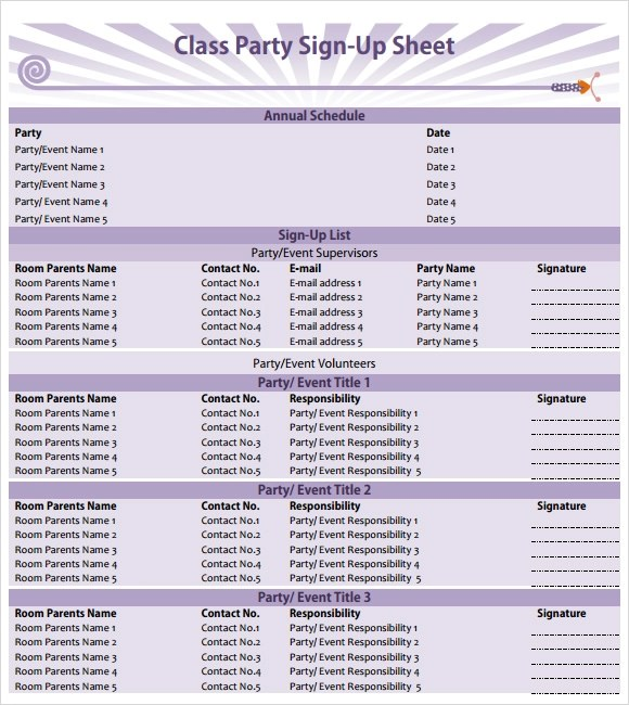 party sign in sheet - Romeolandinez - class sign up sheet template