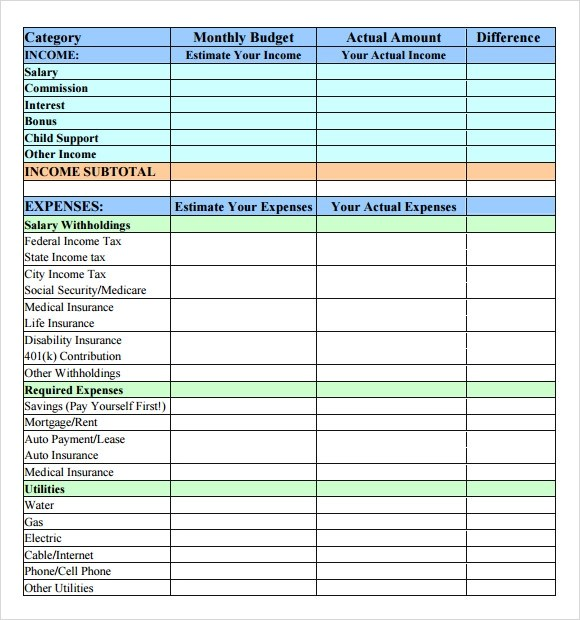 simple budget template - simple budget