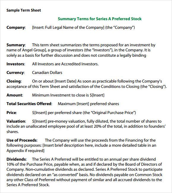 sample term sheet template