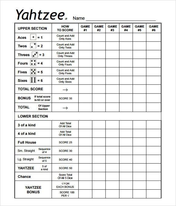yahtzee score card template