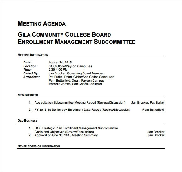 business meeting agenda template - agenda for a meeting template