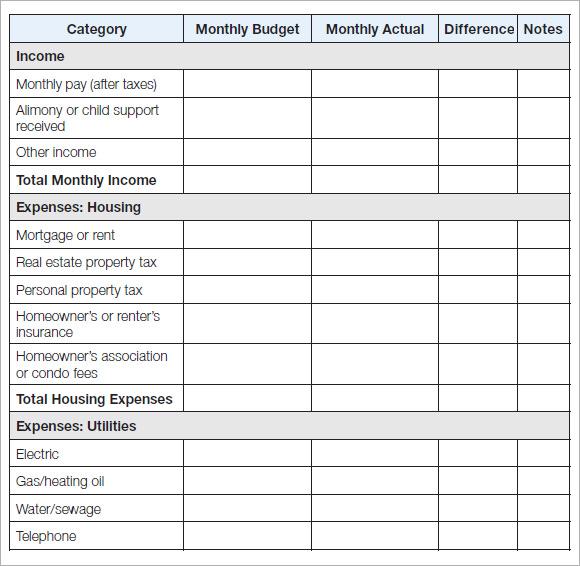 sample household budget template - basic budgeting worksheets