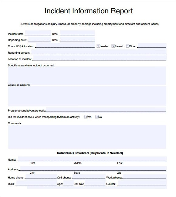 sample incident report template - incident report template word