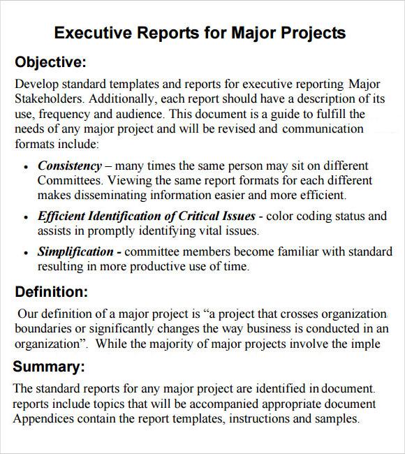 sample executive report template - sample summary report template