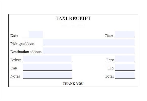 taxi cab receipt template - payment receipt templates