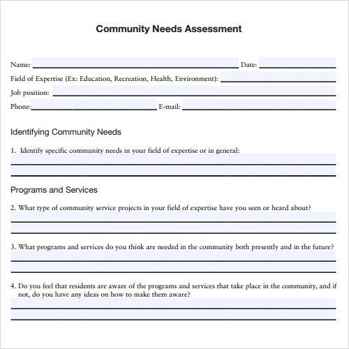sample needs assessment template