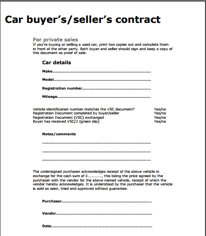Contract Template Car Sale – Selling Car Contract Template