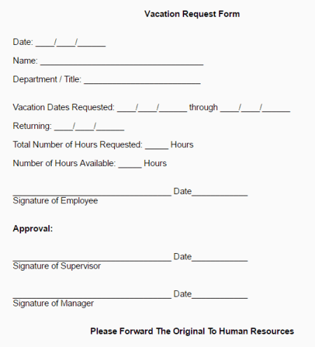 6 Employee Vacation Request Form Templates Free Sample