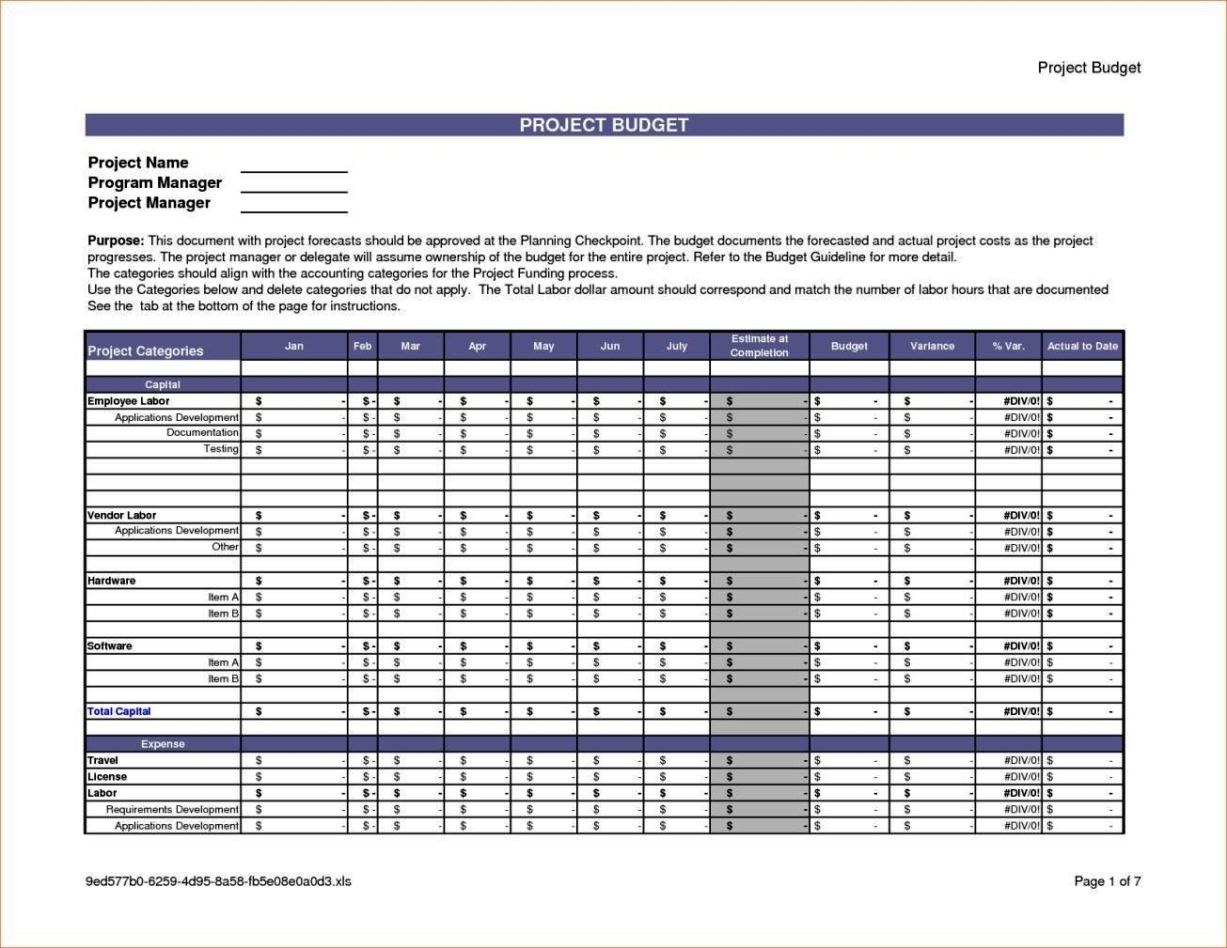 free project costing template excel