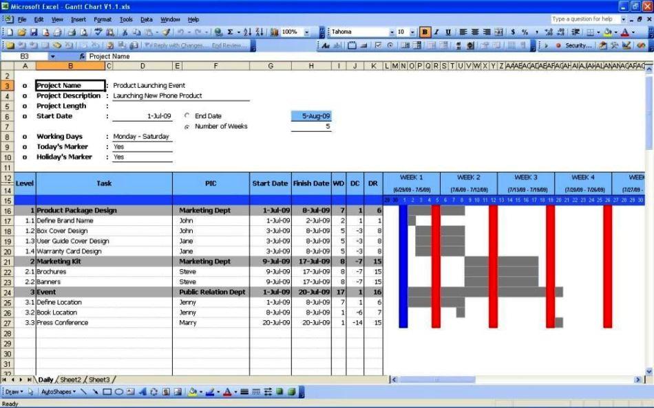 Project Gantt Chart Template Xls - SampleTemplatess - SampleTemplatess
