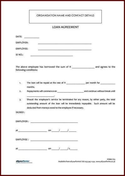 Standard Loan Agreement Template Free - SampleTemplatess - SampleTemplatess