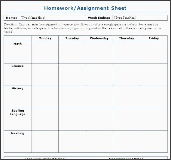 Assignment Sheet Template Best Homework Assignment Sheet Template - daily homework assignment sheet
