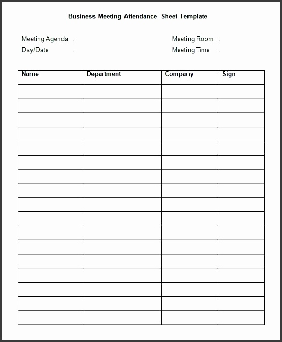 7 attendance Sheet Template In Word - SampleTemplatess - attendance sheet template word