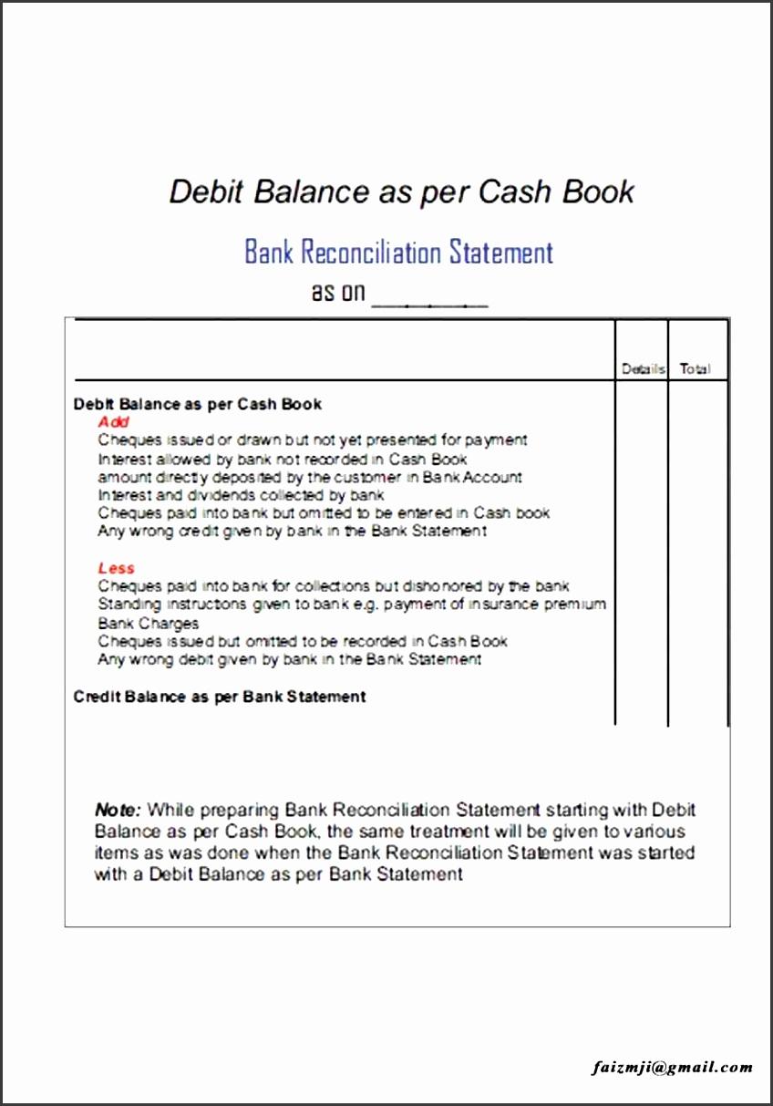 blank bank reconciliation form