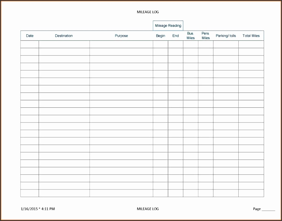 2015 mileage log template - Onwebioinnovate