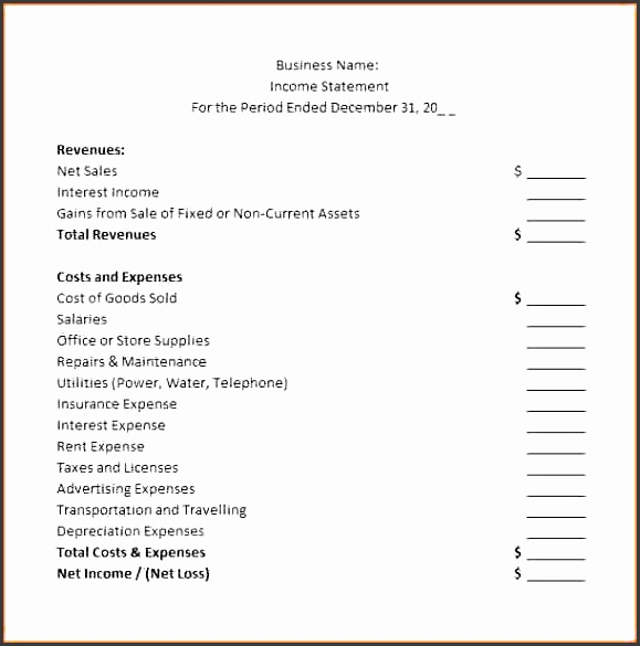 5 Business Income Statement Template - SampleTemplatess - business income statement template