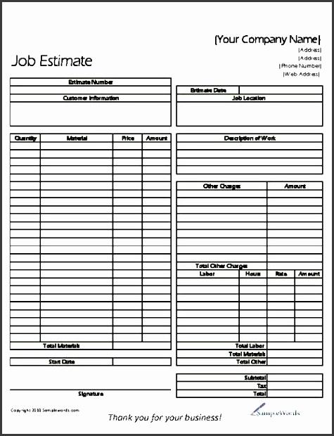 9 Construction Job Estimate Template - SampleTemplatess