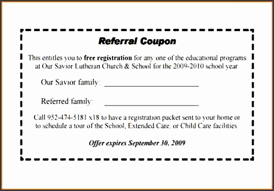 Referral Coupon Template oakandale - coupon format