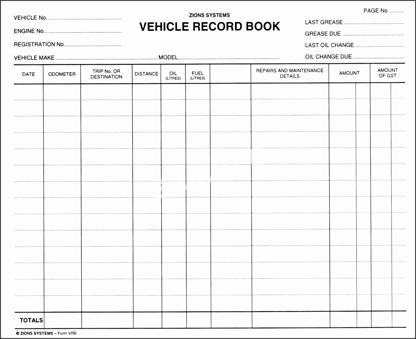 vehicle log book format excel