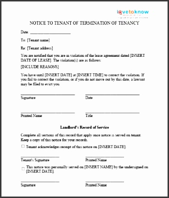 Notice Form In Word - sarahepps - - eviction notice template word
