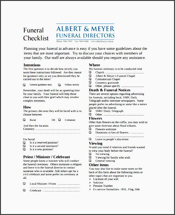 estate planning checks listdocx. funeral checklist. funeral ...