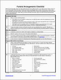 11 Funeral Planning Checklist Template In Excel ...
