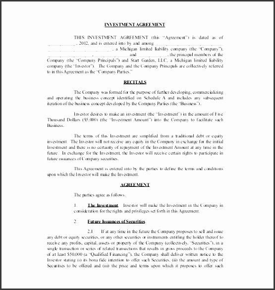 Investment Agreement Sample Investment Agreement Sample Investment