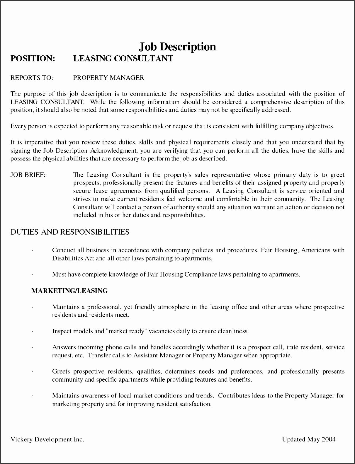 leasing consultant duties