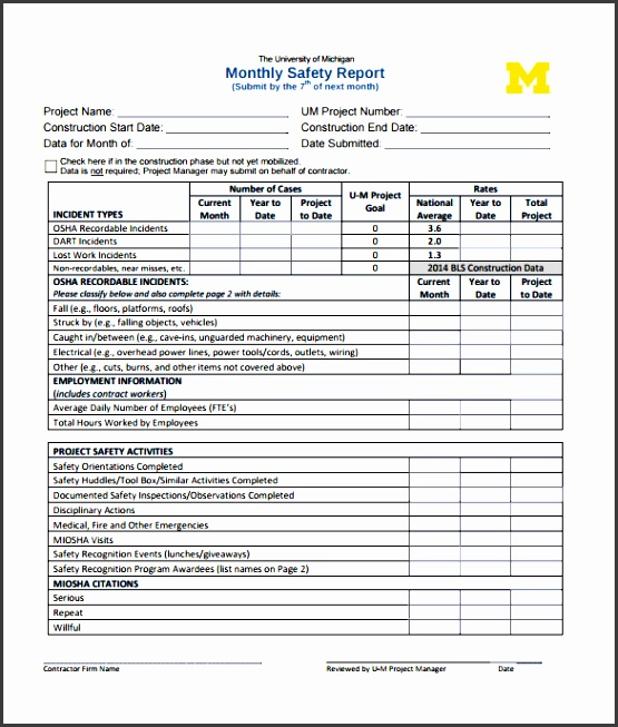 Monthly Health And Safety Report Template Image collections - monthly report templates