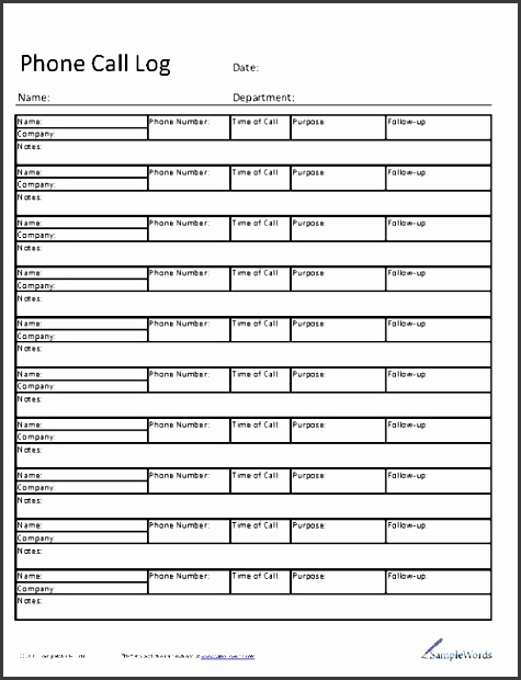 template for call log - Pinarkubkireklamowe