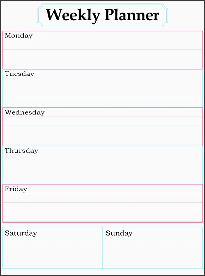8 One Week Planner format - SampleTemplatess - SampleTemplatess