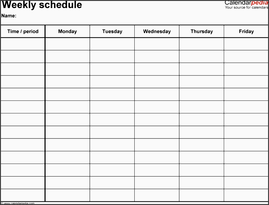 One Week Planner Template oakandale