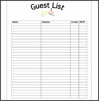 9 Party Guest List Sample - SampleTemplatess - SampleTemplatess