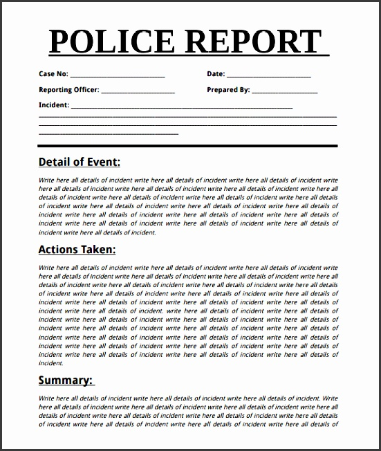 Police Incident Report Template Word - Arch-times - police incident report template word