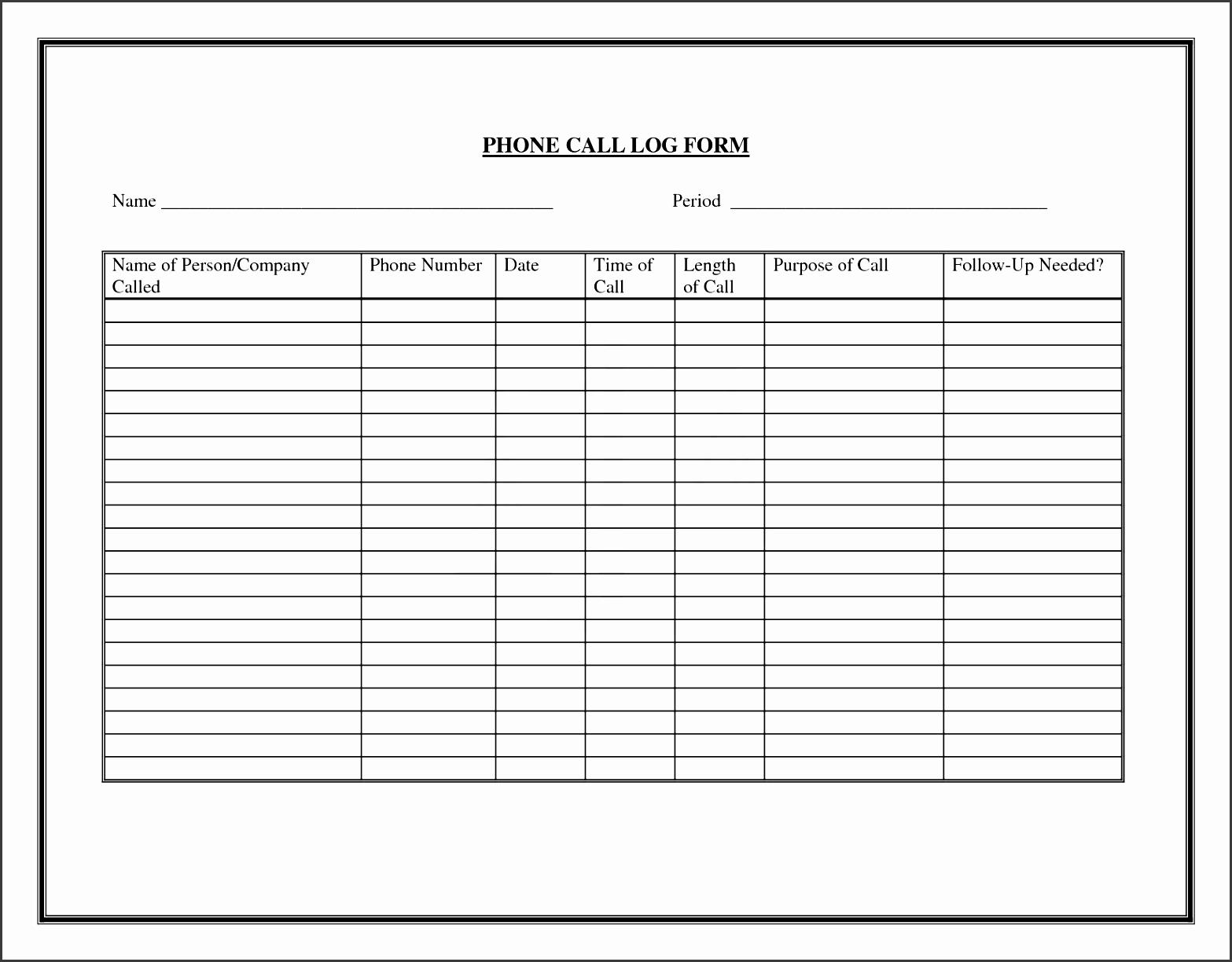 printable call log sheet