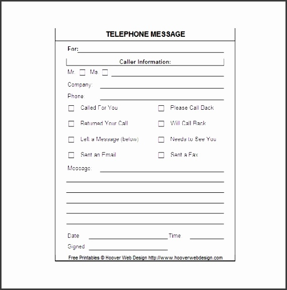 printable telephone message template