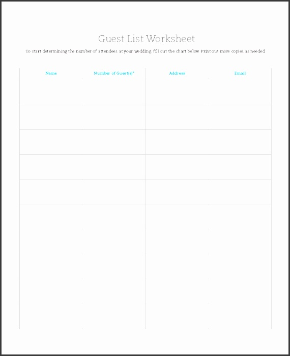 printable wedding guest list template pdf - Intoanysearch