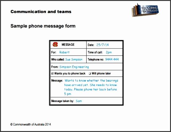 telephone message form - Roho4senses